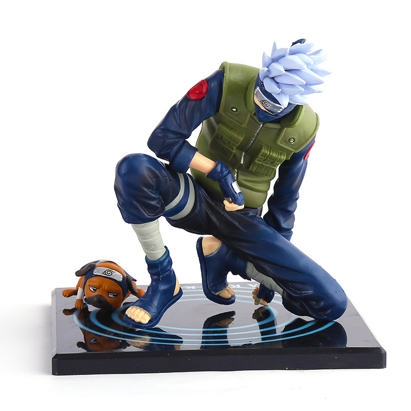 J.G Chen FREE SHIPPING Japanese Animation NARUTO Shippuden Hatake Kakashi With Ninken Pakkun 15cm/6 PVC Action Figure Anime free shipping japanese anime naruto hatake kakashi pvc action figure model toys dolls 9 22cm 013