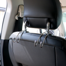 1 Pair Car Hanger Organizer Holder Auto Fastener Clip Car Seat Back Clips Handrest Hook for Bag Purse Stainless Steel