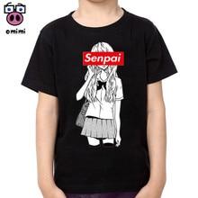 Boy and Girl Senpai Fashion Print Cotton T-shirts Kid's Short Sleeve Soft Black Tee Tops Baby Brand Clothes Boys Christmas Shirt