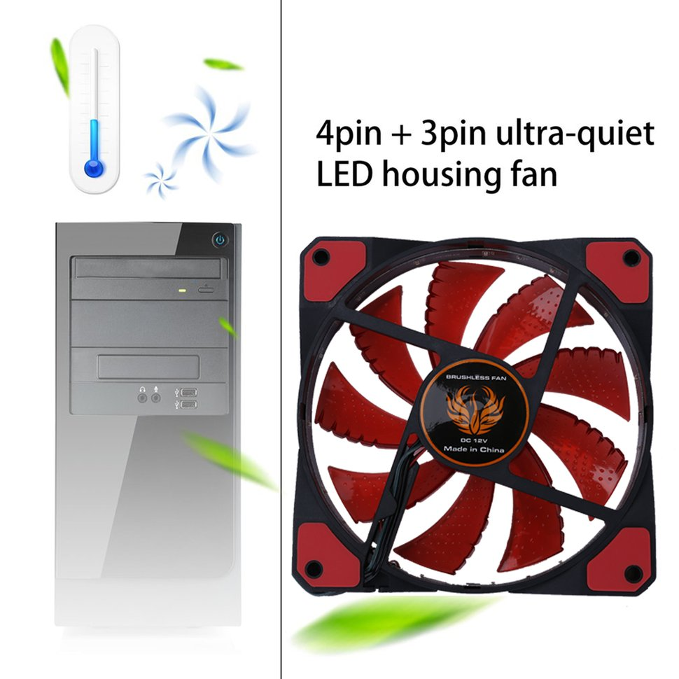 Cooling Fan 120mm LED Ultra Silent Computer PC Case Fan 15 LEDs 12V With Rubber Quiet Molex Connector Easy Installed Fan Cooler