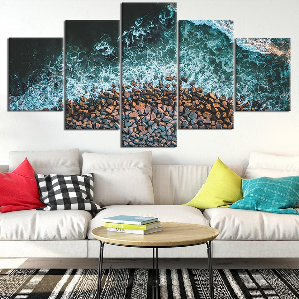 Modern Canvas Printed Poster Home Decor 5 Pieces Sea Wave Painting Stone Wall Art Landscape Pictures Cuadros Living Room Modular in Painting Calligraphy from Home Garden
