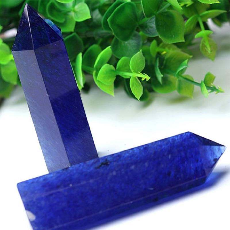 Blue Minerals Quartz Crystals Natural Stones Home Decoration Polished Wands Healing Specimen Gift Home Decor Drop Shipping D24