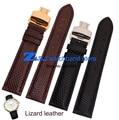 Pulsera de cuero de Lagarto banda relojes de pulsera correa de reloj de correa de reloj de cuero de grano Redondo 18mm 19mm 20mm 21mm 22mm mariposa broche