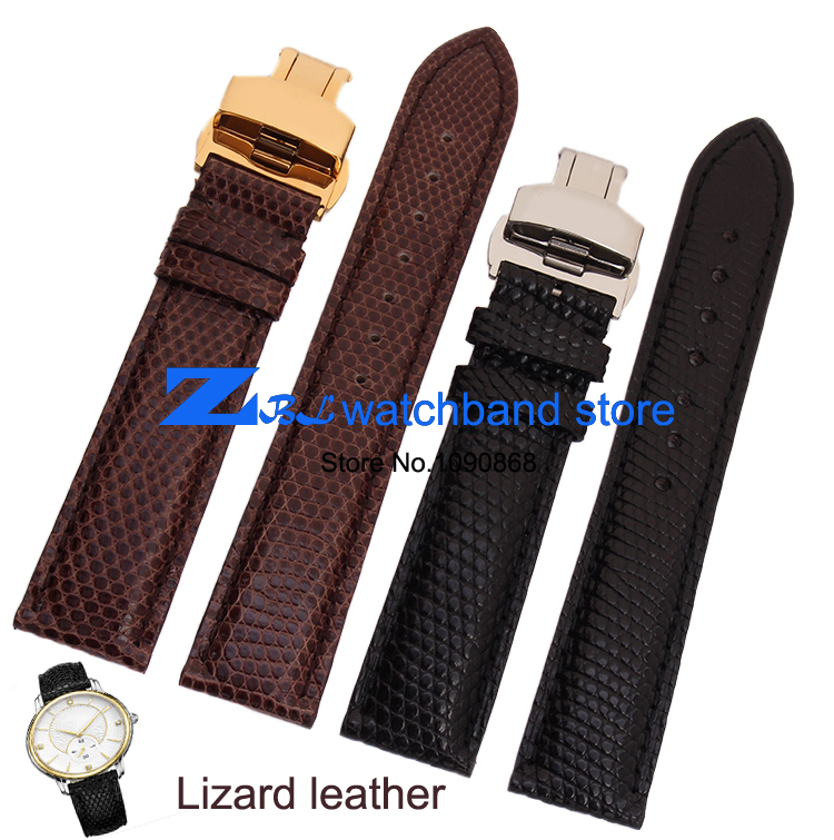 leather bracelet Lizard leather watchband Round grain wristwatches band watch strap 18mm 19mm 20mm 21mm 22mm butterfly clasp lizard сандали hip m leather 45 black