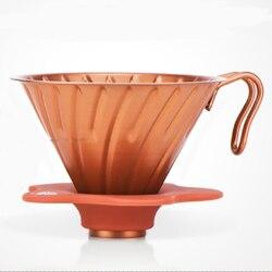 FeiC 1pc 3 kolory ze stali nierdzewnej kroplownik kawowy z jadalnym klasy krzemionka żelowy kubek uchwyt hario style V60 1 2cups dla barista w Filtry do kawy od Dom i ogród na