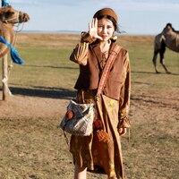 LYNETTE 'S CHINOISERIE Sonbahar Bahar Kadın sahte twinset süet uzun kollu elbise