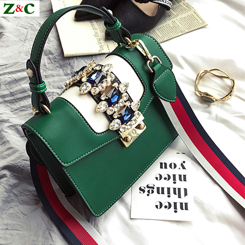 Luxury Brand Spring Diamond Gem Women Leather Handbag Colorful Wide Strap Shoulder Bags Famous Designer Handbag Big Totes Sac