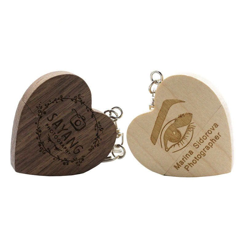 BiNFUL Wooden Heart  Custom LOGO 64GB Usb Flash Drive Memory Stick Pen Drive 8gb 16gb 32gb Company Logo Engravee