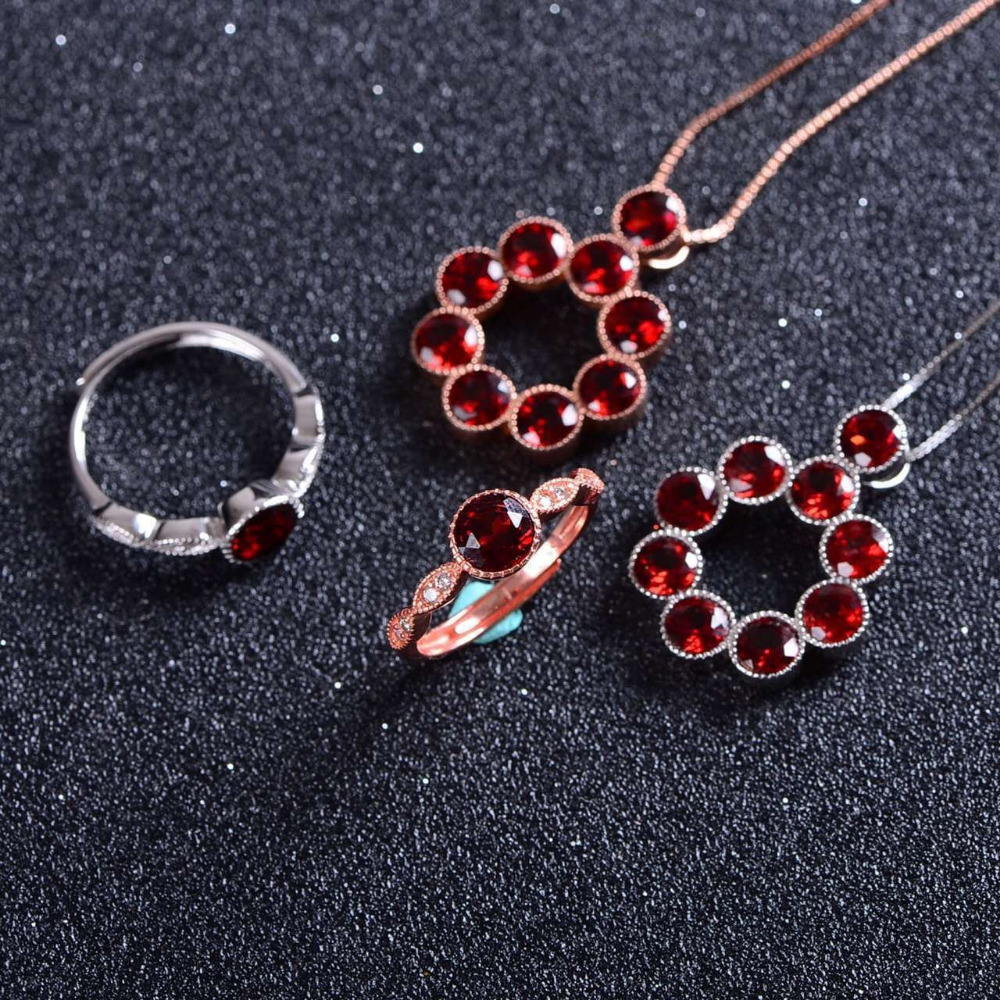 Natural red garnet gem jewelry sets natural gemstone Pendant ring 925 silver Elegant Simple round bubbles