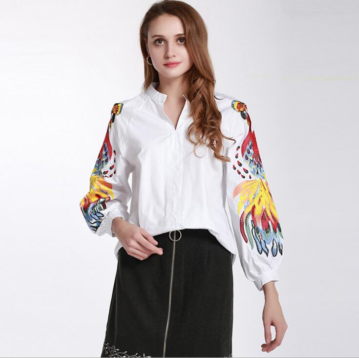 women s spring autumn lantern sleeve casual loose white cotton shirt lady s embroidery blouse TB338