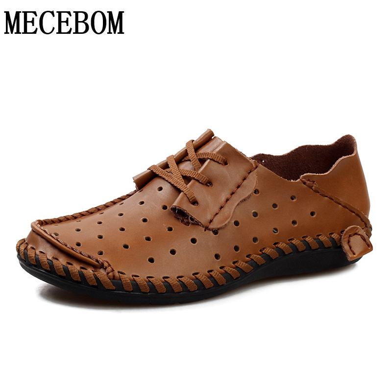 Mens leather shoes fashion summer big size 48 hole shoes lace-up breathable moccasins men casual shoes comfotable zapatos a858