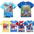 Пожарный Сэм Мальчики Футболка Милый Летом С Коротким Рукавом Человек-Паук Дети футболка Big Hero 6 Малышей Детская Одежда
