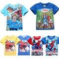 Fireman sam camiseta de los muchachos lindos de verano de manga corta niños del hombre araña camiseta big hero 6 nacido bebé ropa de los niños