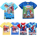 Fireman sam meninos t-shirt bonito do verão spiderman t camisa dos miúdos de manga curta big hero 6 da criança do bebê crianças roupas