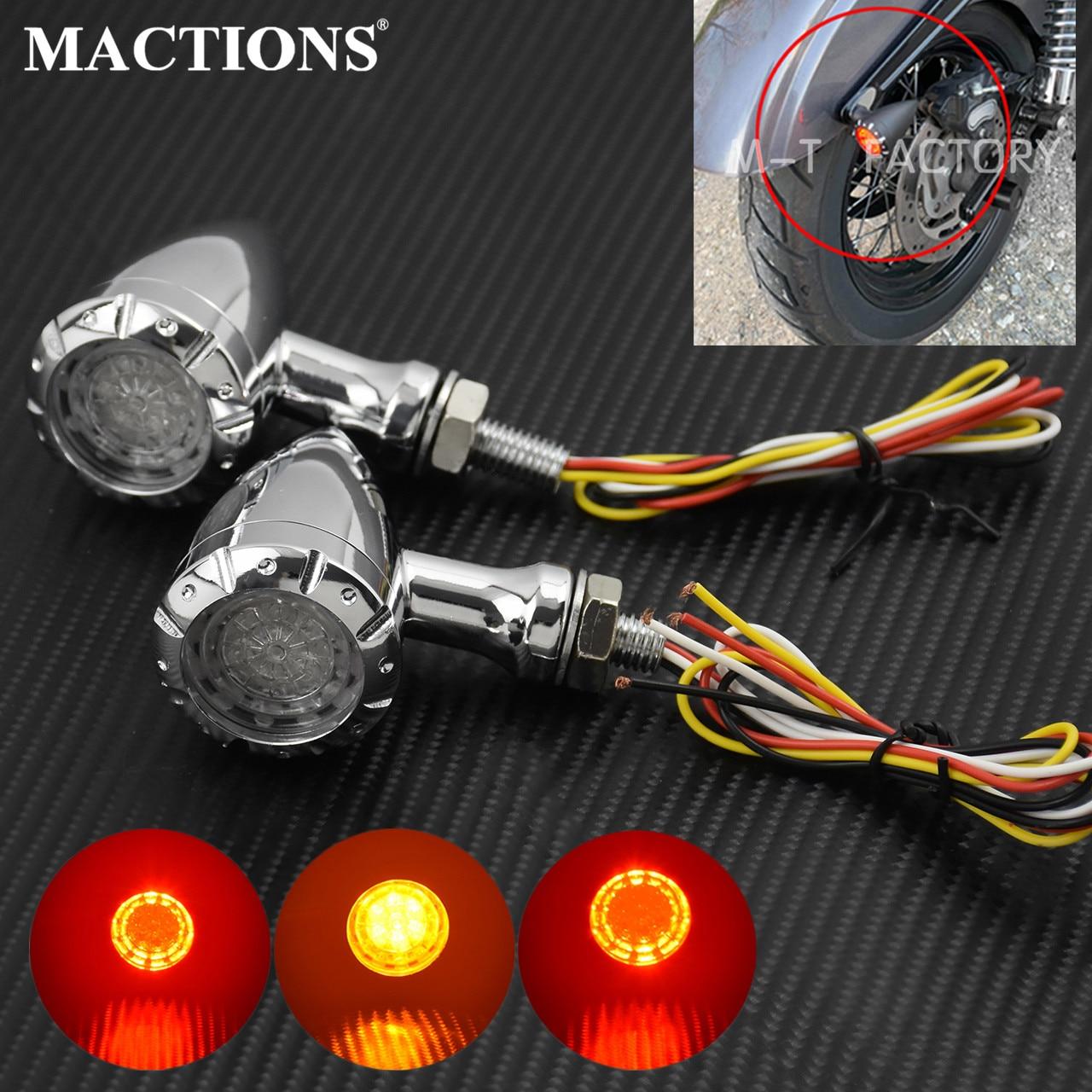 2pcs Motorcycle Red Lamp Turn Signals Brake Indicator for Yamaha Harley Chopper