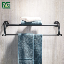 FLG Bathroom Shelves Wall Mounted Black ORB Towel Rack Holder Towel Hanger Bath Towel Holders WC Clothes Storage Shelf недорго, оригинальная цена