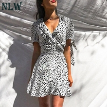 5fe5193cd8 NLW 2019 Summer Vintage White Leopard Print Dresses Women Short Sleeve Wrap  Ruffle Party Mini Dress