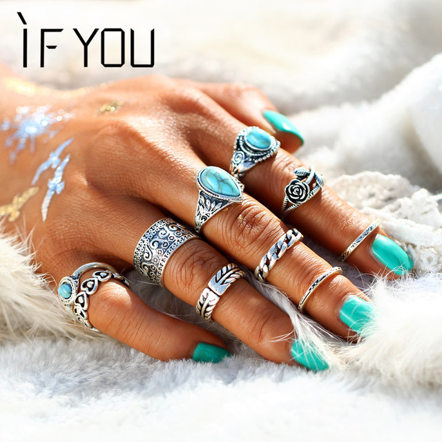 IF YOU 10PCS/Set Retro Rose Flower Midi Ring Set For Women Vintage Blue Stone Lo