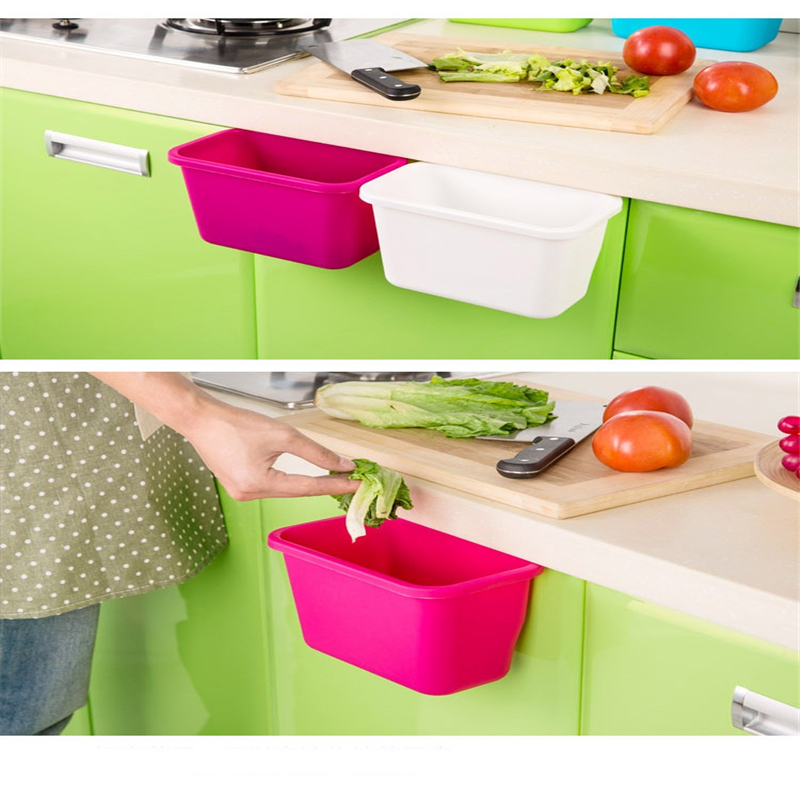 Hanging Standing Kitchen Waste Bin Cupboard Door Wall Simple Garbage Bin 4 Colors Dustbin Storage Box ...