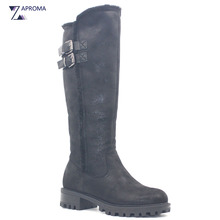 Flock Snow Boots Women Buckles Warm Med Heel Black Slim Mid Calf Fur Winter Short Plush