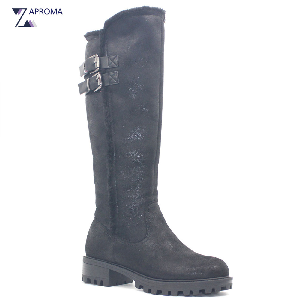 Flock Snow Boots font b Women b font Buckles Warm Med Heel Black Slim Mid Calf