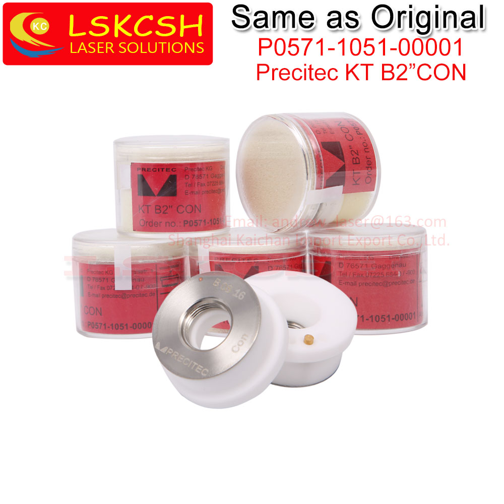 LSKCSH 5pcs/lot top quality CO2/fiber laser ceramic part nozzle holder KT B2 CON P0571-1051-00001 Han's/Ermaksan/Durma laser precitec laser ceramic p0571 1051 00001 kt b2 con ceramic parts nozzle holder for ermaksan co2 fiber laser cutting machines