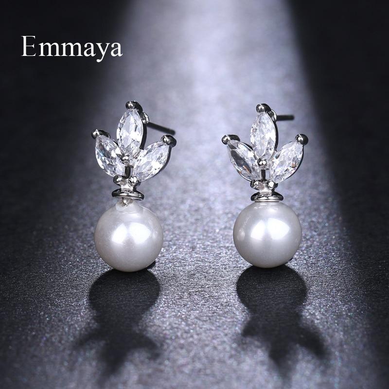 Emmaya luxo austríaco claro zircônia cúbica brincos para mulheres brincos de imitação de orelha balançar feminino menina jóias