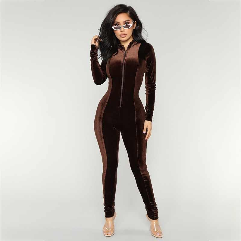 7b976a9dae1 Ohvera Autumn Winter Long Rompers Womens Jumpsuit Elegant Sexy Bodycon Velvet  Jumpsuits For Women 2018 Overalls