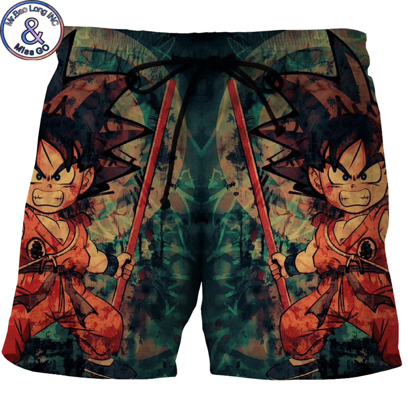 Mens Hipster Dragon Ball Z Kid Goku Beach Board Shorts Trunks 2018 Summer New Quick Dry Boardshorts Beach Wear Shorts Masculino