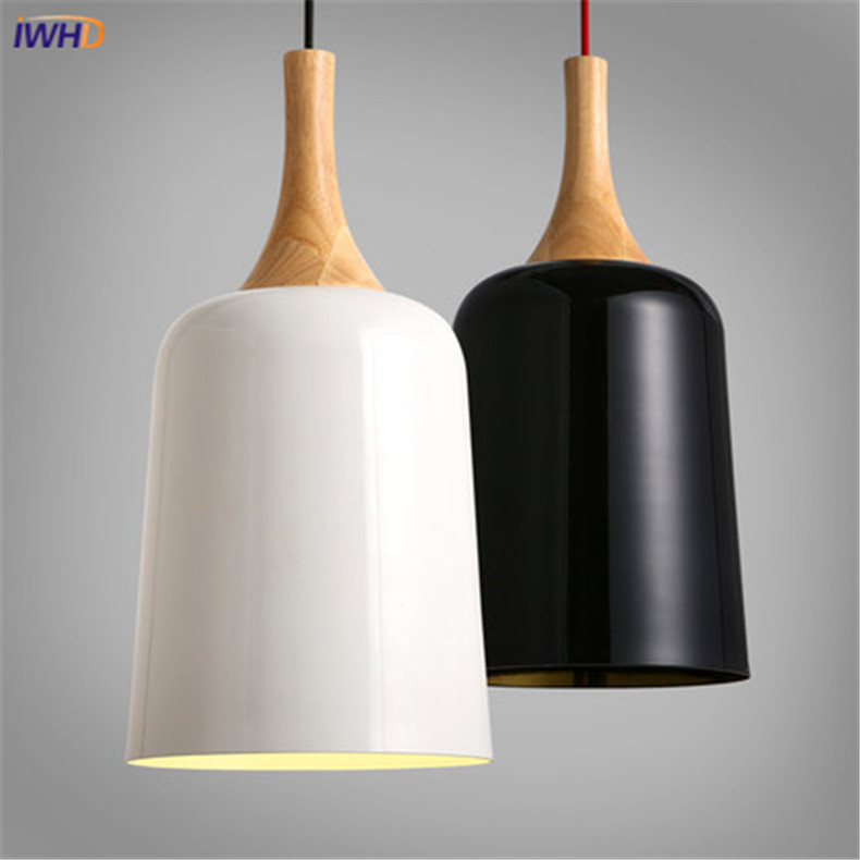 IWHD Modern Pendant Light LED American Style Iron Cup Shape Lamps Creative White Black Hanging Lights For Home Restaurant bicycle shape led modern crystal pendant lamps unique creative latest popular style led pendant light free shipping