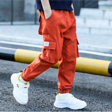 лучшая цена Big Boy Child Cargo Pants Casual Sports Pants Spring And Autumn Children's Pants For Teeage Pockets Trousers 4 -11 Old Years