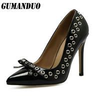 Women Pumps Sexy Rivet Shoes Rome Butterfly Knot High Heels Fashion Party Pointed Toe Thin Heels