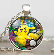 Pikachu Pokemon Cosplay Anime game Mens Handmade Fashion Necklace brass silver Pendant steampunk Jewelry Gift women toy chain