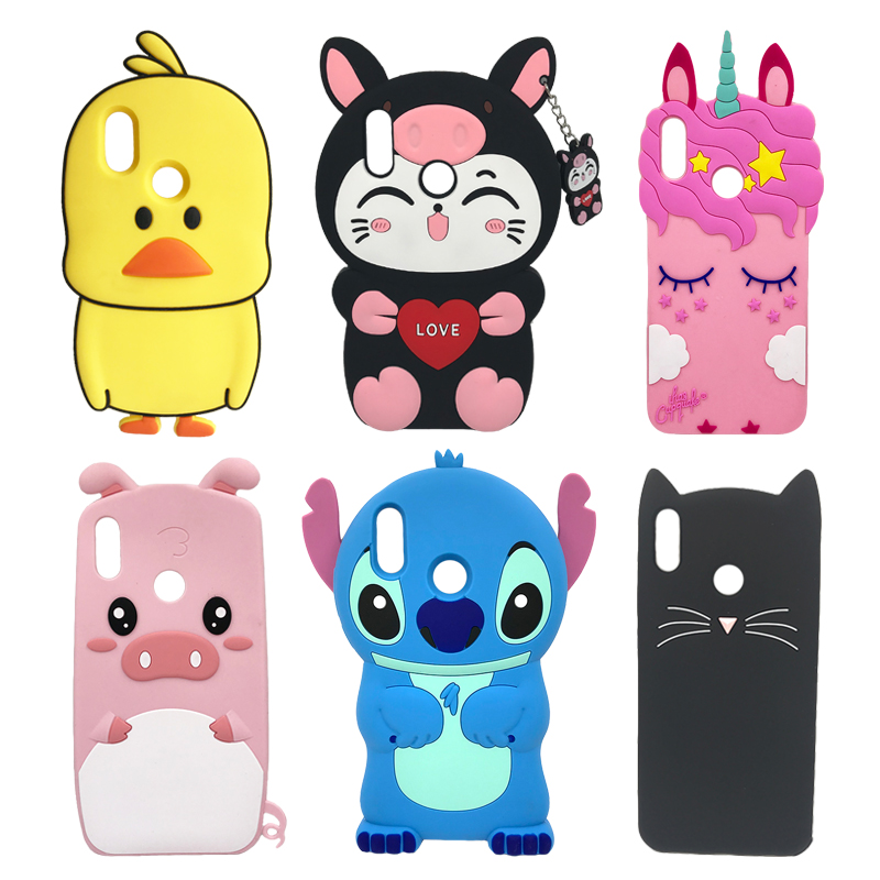 Soft Silicone Phone Case For Huawei P Smart 2019 Case Cute 3D Stitch Cat Unicorn Back Cover For Honor 10 Lite Luxury Funda Coque