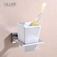 BULUXE Brass Bathroom Accessories Toothbrush Holder Wall Mounted Bath Acessorios de banheiro Cup Holder HP7754