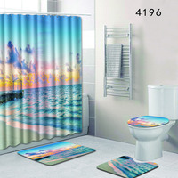 Scenery of Ocean 4pcs Bathroom Shower Curtain and Rug Sets Toilet Mat Accessories Blue Carpet 50x80 Anti Slip Foot Pads for Gift