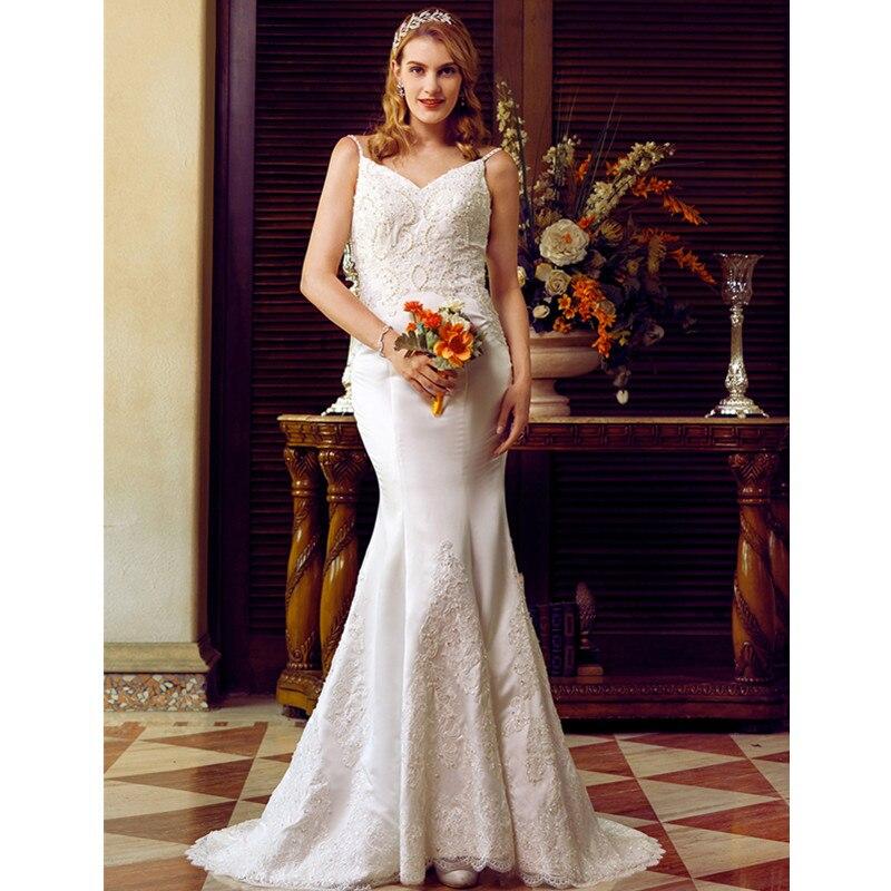 Satin Mermaid Wedding Gown: LAN TING BRIDE Mermaid Trumpet Spaghetti Straps Wedding