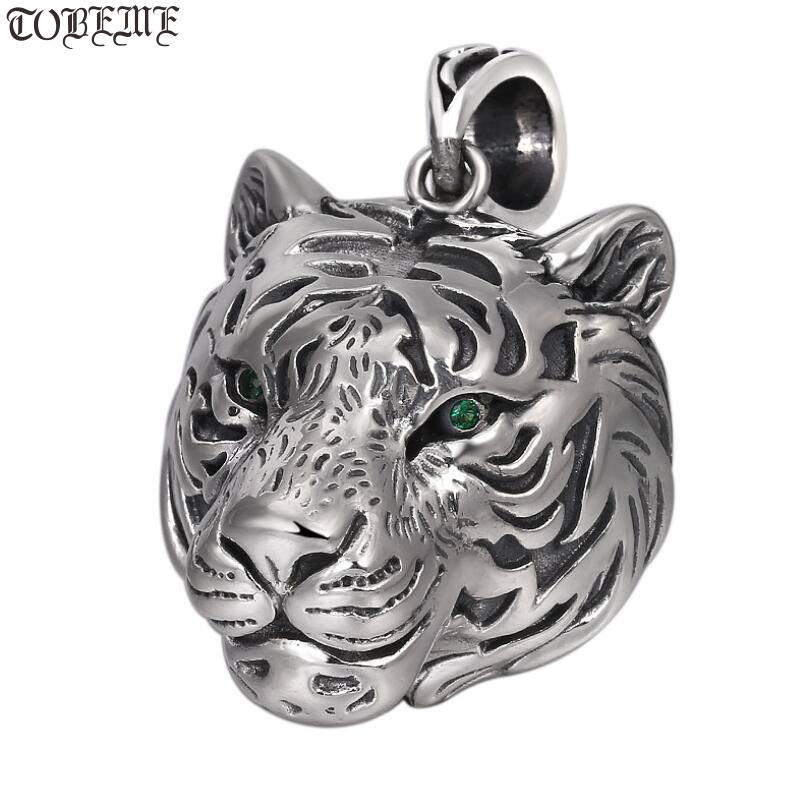 NEW 100 925 Silver Tiger Pendant Necklace 925 Sterling Good Luck Tiger head Pendant Lucky Beast
