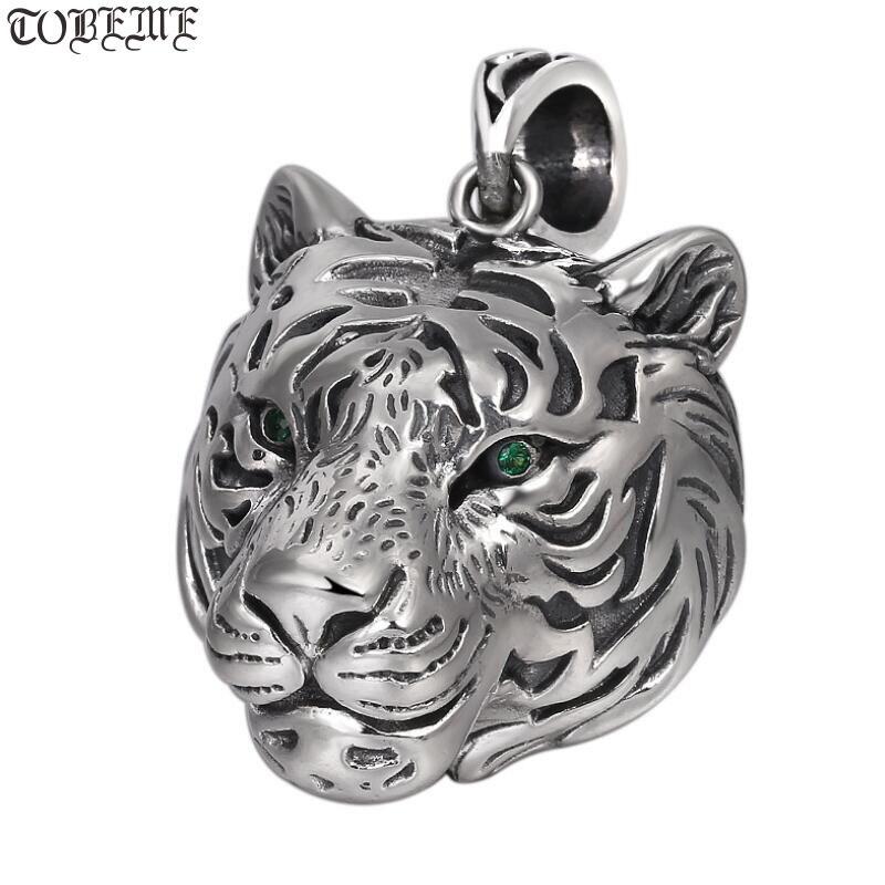 Nouveau 100% 925 collier pendentif tigre en argent 925 Sterling bonne chance pendentif tête de tigre amulette bête chanceuse