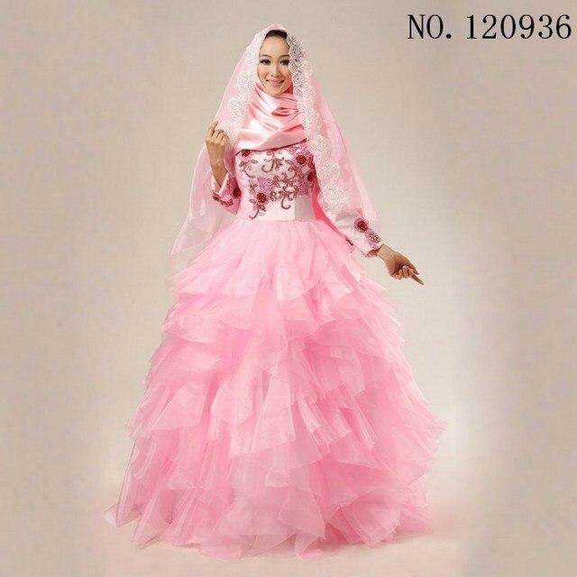 Kustom Muslim Gaun Pengantin Warna Pink Turki Dresses Lengan Panjang