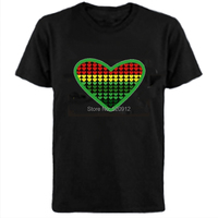 2014 Heart Shape Equalizer LED Sound Activated T Shirt With 4pcs AAA Battery Inverter Free Shipping