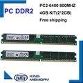 Бесплатная доставка DDR2 4 ГБ kit (2 * DDR2 2 ГБ) 800 МГЦ PC6400 LONGDIMM 8 бит работы для всех intel и AMD материнской платы