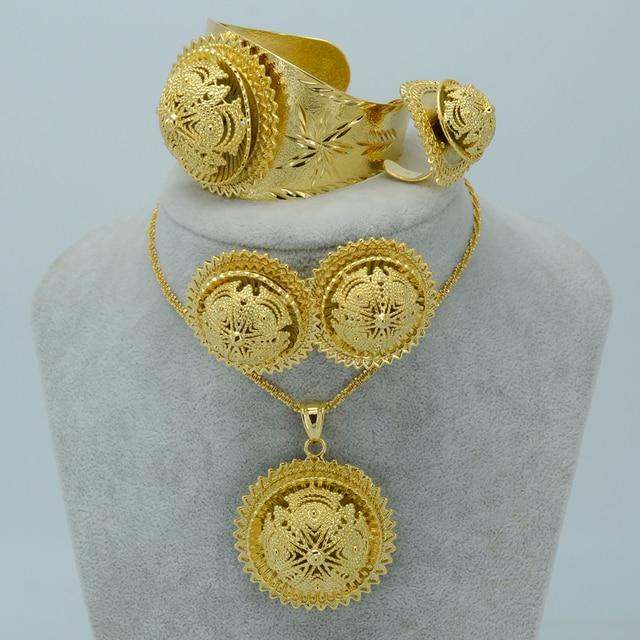 Anniyo Ethiopian Jewelry Sets Gold Color Habesha Set Ethiopia