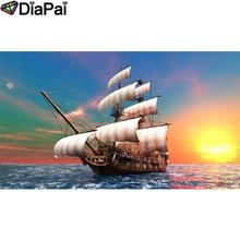 DIAPAI 5D DIY Diamond Painting 100% Full Square/Round Drill Boat sunset sceneryDiamond Embroidery Cross Stitch 3D Decor A22130