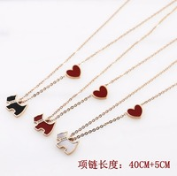 Hot Sale Black Red White Shell With Red Heart Small Dog Rose Gold Color Stainless Steel