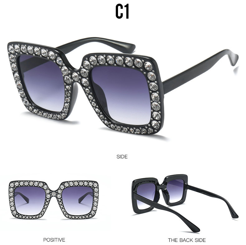 Luxury brand Italian large crystal sunglasses square shiny diamond sunglasses female brand design Oculos Lunette AQ311-334