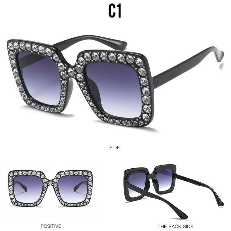 Luxus marke Italienischen große kristall sonnenbrille quadratische shiny diamant sonnenbrille weibliche marke design Oculos Lunette AQ311-334