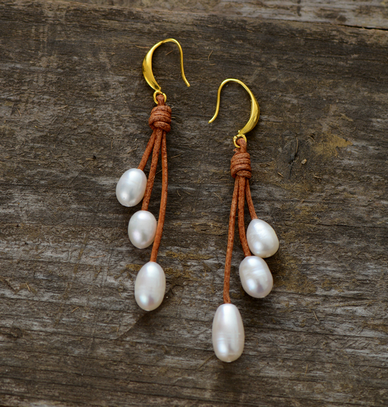 Pearl Earrings Natural Freshwater Pearls Leather Designer Jewelry Drop Earring Women Gift In From Accessories On