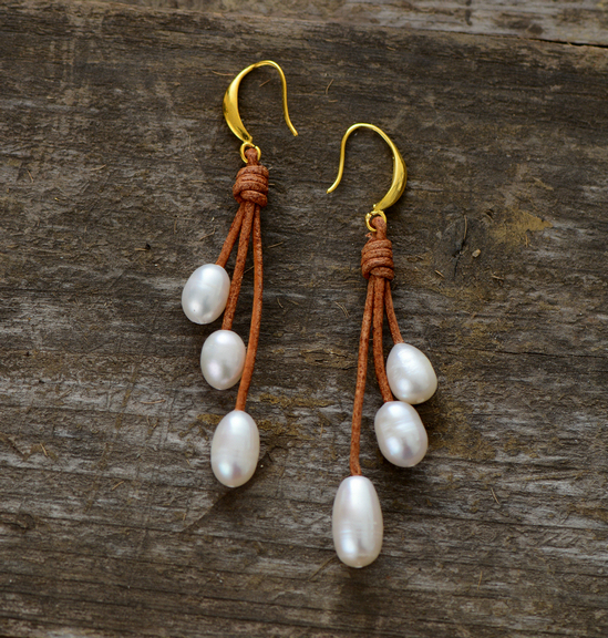 Pearl Earrings Natural Freshwater Pearls Leather Designer Jewelry Drop Earring Women Gift