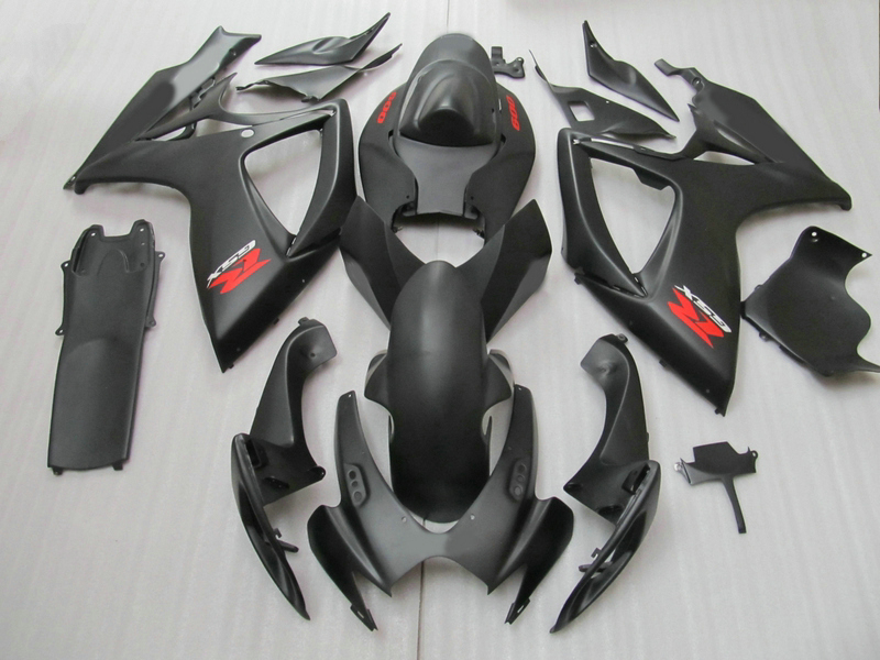 High quality 100% Fit for SUZUKI GSXR 600 750 fairing kit K6 K7 2006 2007 all matte black GSX-R600 GSX-R750 06 07 fairings s injection mold fairing 2006 2007 for suzuki gsx r 600 750 k6 k7 plastic bike bodywork red frame free brand logo decal